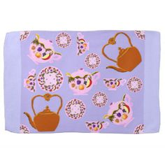 """#periwinkle #kitchen #dish #tea #towel #teashop #teatime #Pink #china with #fruit & #leaves #pattern #copper #teakettle #plates #teacup - my art on custom FABRIC by the yard, fat quarter or 9x9"""" $6 swatch, plates, ribbon, kitchen towels, messenger bags, nail decal art, guitar picks, dessert treats, jewelry, pillows, and more at http://zazzle.com/fabricatedframes?rf=238001022235983905  #10% off #code #TENTH4ZAZZLE ends 7/20/2015"""