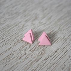 Pink Triangle Polymer Clay Stud Earrings by LittlestOven on Etsy