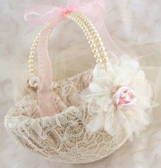 Flower Girl Basket Bridal Basket in Champagne, Blush Pink and Ivory with Pearls and Lace Vintage Inspired