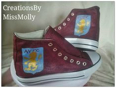 Excited to share the latest addition to my #etsy shop: Football Shoes/ Aston Villa shoes/ Football Converse/ Handpainted Converse http://etsy.me/2CK2A5n