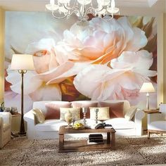 3D Wallpaper For Living Room Floral Print Wallpaper, Mural Floral, Pattern Wallpaper, Floral Wallpapers, Floral Prints, Landscape Wallpaper Living Room, 3d Wall Murals, Wall Art, Peony Print