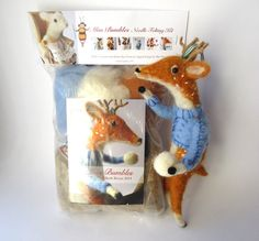 Needle Felting Kit Festive Deer Designed by Miss Bumbles $36