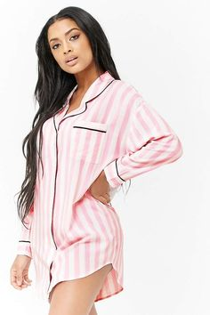 a7fbfb04d8 Forever 21 Striped Sleep Shirt Loungewear Set