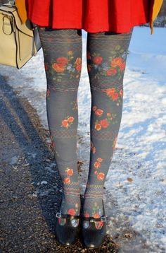 Moda outono/inverno - Como usar meia-calca com estampa de flores