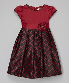 Red & Black Windowpane Dress - Toddler & Girls #zulily #zulilyfinds