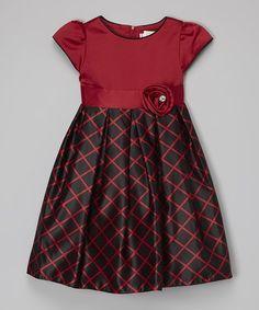 Red & Black Windowpane Dress - Toddler & Girls #zulily #zulilyfinds