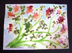Flowers Today = Listed = C PETERSON = Original Watercolor PAINTING impressionist