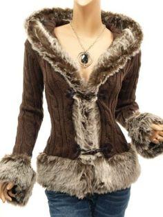 Patty Women Russian Faux Fur Trim Hooded Jumper Cardigan Jacket: Amazon.co.uk: Clothing