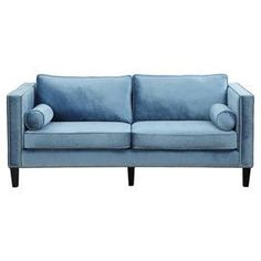 "A stylish addition to your living room or den decor, this contemporary sofa showcases velvet upholstery and hand-applied nailhead trim for eye-catching appeal.  Product: SofaConstruction Material: Velvet, polyurethane foam and birch woodColor: Blue and blackFeatures:  Over 1,300 hand-applied nailheadsTwo accent pillows included17"" Seat height 21"" Seat depthDimensions: 32.1"" H x 83.1"" W x 37.4"" DCleaning and Care: Spot clean"