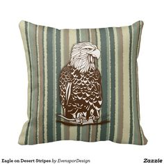 Eagle on Desert Stripes Pillow
