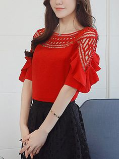Polyester Women Crew Neck Flounce Hollow Out Half Sleeve Blouses Modest Fashion, Fashion Outfits, Womens Fashion, Fashion Trends, Red Blouses, Blouses For Women, Fashion Blouses, Ladies Blouses, The Cardigans