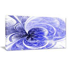 "DesignArt 'Blue Light Fractal Flower Pattern' Graphic Art Print on Wrapped Canvas Size: 30"" H x 40"" W x 1"" D"