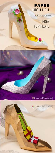 3D paper shoe with free template,and video tutorial #shoetemplate #paperhighheel #papershoe #3Dshoetemplate