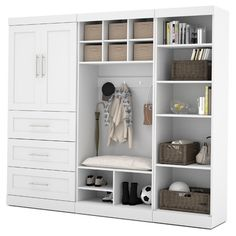 "Bestar Pur 18.25"" Deep Mudroom Storage Unit Kit & Reviews 