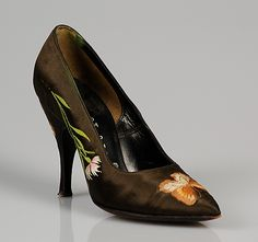 Evening pumps Beth Levine (American, born Patchogue, New York 1914–2006 New York) Manufacturer: Herbert Levine Inc. (American, founded 1949) Date: ca. 1954 Culture: American Medium: Silk Credit Line: Brooklyn Museum Costume Collection at The Metropolitan Museum of Art, Gift of the Brooklyn Museum, 2009; Gift of Beth Levine in memory of her husband, Herbert, 1994