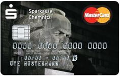 Irony overload, priceless: Issued by Sparkasse Chemnitz — Chemnitz is a city in eastern Germany, in the state of Saxony — the Marx card has proven to be popular: ten designs were proposed by the bank, and more than a third of the customers opted for Marx.