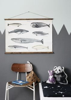 Kids room inspiration from Weekday Carnival. We love the whale poster! (*method for hanging poster) Childrens Room Decor, Kids Decor, Boy Decor, Kids Room Design, Wall Design, Inspiration For Kids, Room Inspiration, Kid Spaces, Kidsroom