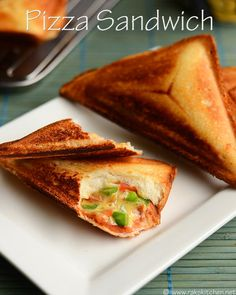 pizza-sandwic, check the video in the page Easy Sandwich Recipes, Snack Recipes, Cooking Recipes, Veg Recipes, Pizza Recipes, Bread Recipes, Easy Lunches For Kids, Easy Meals, Kid Lunches