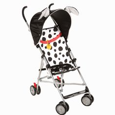 Grab a friend and go! The 101 DALMATIANS umbrella stroller is decked out like your favorite pup in black and white spots and comes complete with Dalmatian ears atop the deluxe rounded canopy.
