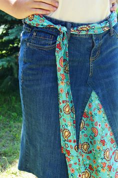 Blue Denim Jean Skirt by ThreeSkirtstotheWind #Jean #Skirt #Makeover #Upcycle