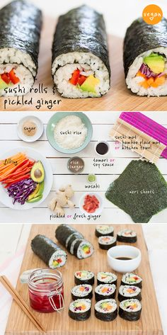 Vegan sushi and homemade pickled ginger make a perfect light meal. Contrary to popular belief, making a sushi roll isn't difficult - we'll s. Vegan Foods, Vegan Dishes, Vegan Lunches, Whole Food Recipes, Cooking Recipes, Healthy Recipes, Easy Sushi Recipes, Vegetarian Sushi Recipes, Cooked Sushi Recipes