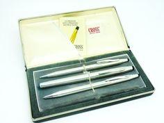 Sterling Silver Cross Pen Pencil Set Ballpoint by DartSilverLtd