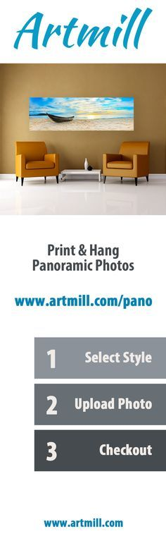 Upload a panoramic photo from your smartphone or computer and create ready-to-hang artwork delivered to your door.