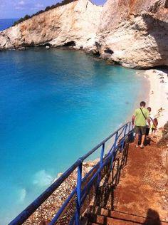 Stairs to Porto Katsiki beach in Lefkada island ~ Greece