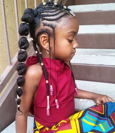 Black kids hairstyles with beads pin by allayah howard behagen on natural hair styles for kids Black Kids Hairstyles, Baby Girl Hairstyles, Kids Braided Hairstyles, Girl Haircuts, Pretty Hairstyles, Hairstyles 2018, Hairstyle Ideas, Short Haircuts, Hairstyles Pictures