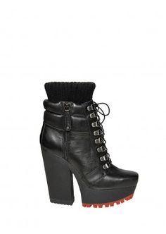 NIKKA LEATHER BOOT WITH RED TRED by Alice + Olivia