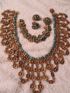 Gorgeous Vintage Miriam Haskell Turquoise Bib Necklace (just wish the photo wasn't taken on a towel)