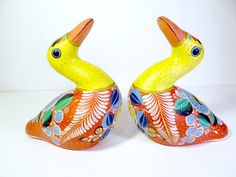 Vintage Signed Pair of Colorful Mexican Birds, Tonala Pottery, by TimelessTreasuresbyM on Etsy
