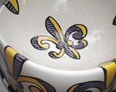 LSU Purple & Gold Fleur de Lis Pet bowl from FleurDeLisPotterie