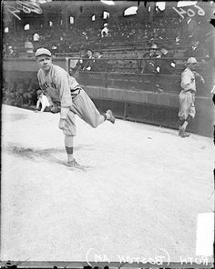 1917. Babe Ruth, Boston Red Sox pitcher, warming up.