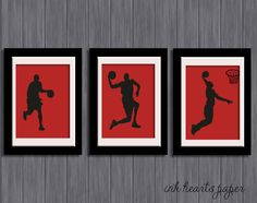 Set of 3 boys / teenagers room Wall Art - Basketball players slam dunk
