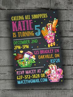 Shopkins Party Invitations Party by PartyPrintableInvite on Etsy