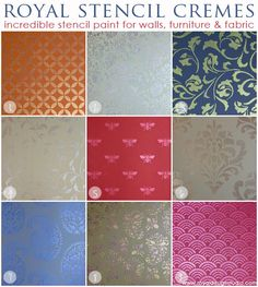 I've painted with these cremes a lot and love the sheen they have. They paint nice and crisp lines too. Royal Stencil Cremes for stenciling and metallic decorative finishing with pattern designs