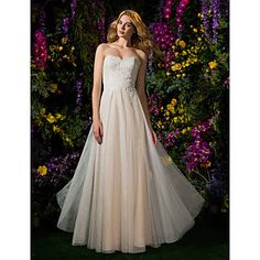 A-line Strapless Lace And Tulle Floor-length Wedding Dress (2148895) – USD $ 259.99 **Needs illusion neckline, and defined waistline