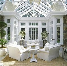 conservatory with white furniture