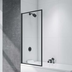 Buy Merlyn Black Square Bath Screen H x Wide - Glass today. Merlyn Part No: Free UK delivery in approx 10 working days. Bath Shower Screens, Shower Over Bath, Shower Panels, Shower Tub, Tub With Glass Door, Glass Shower Doors, Black Bath, Black Shower, Beige Bathroom