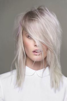 Pastel silver/white hair with subtle hints of lavender