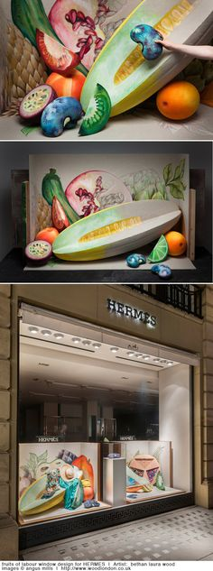 fruits of labour window design for HERMES  |  Artist:  bethan laura wood  |  image © angus mills  |  http://www.woodlondon.co.uk