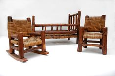 """Rare Martinsville, Indiana, vintage old hickory 3 piece set including rocker, side chair and bed.    Martinsville, Indiana's rustic Old Hickory furniture is highly prized, and this rare set of salesman samples will compliment a collection of Old Hickory furniture or add color to a collection of primitive dolls. The bed measures 12"""" wide, 21"""" long, and 15"""" high. The rocking chair's measurements are 8"""" wide, 10 ¾"""" deep and 10 ½"""" high."""