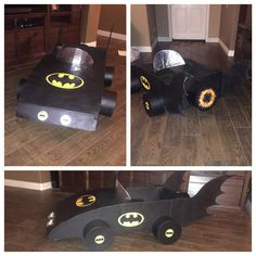 Batmobile made out of cardboard for our kindergarten project!
