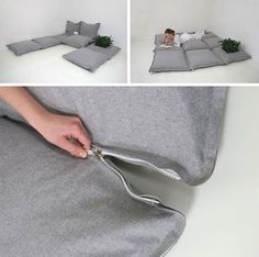 zipzip / modular floor cushions / you could buy some grey felt + zips / via dornob