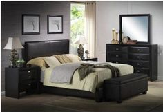 Upholstered Bed Frame Faux Leather Full Queen King Size w/ Headboard Furniture  #Ireland #Contemporary