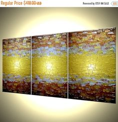 Abstract Painting Textured Metallic Art Large Gold