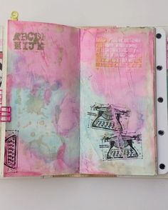 Currently.  My @websterspages traveler's notebok. The #artjournal insert has got all sorts of journal and unfinished projects. I only work on it when ai feel like and most days it's really random. Yep! Including my daughter's doodles.   I'm sorry I took out the volume, my music was louder than my froggy voice.