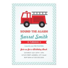 Trucks Birthday Party Invitations All Fired Up Kids Birthday Party Invitation