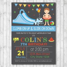 Water Slide Birthday Party Invitation Card Boy by funkymushrooms